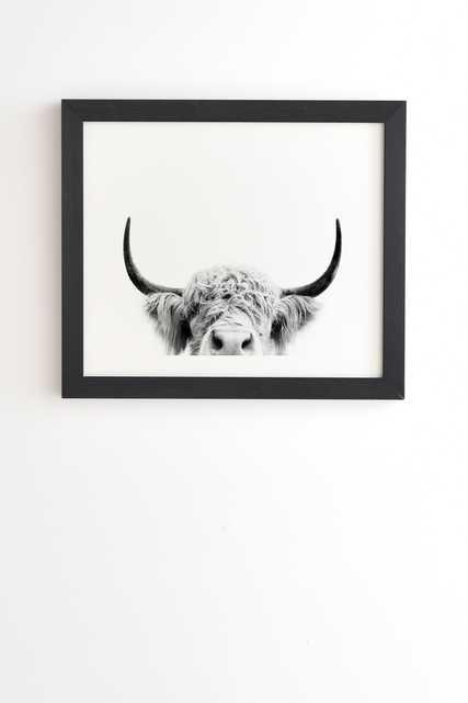 "Peeking Highland Cow by Sisi and Seb - Framed Wall Art Basic Black 14"" x 16.5"" - Wander Print Co."
