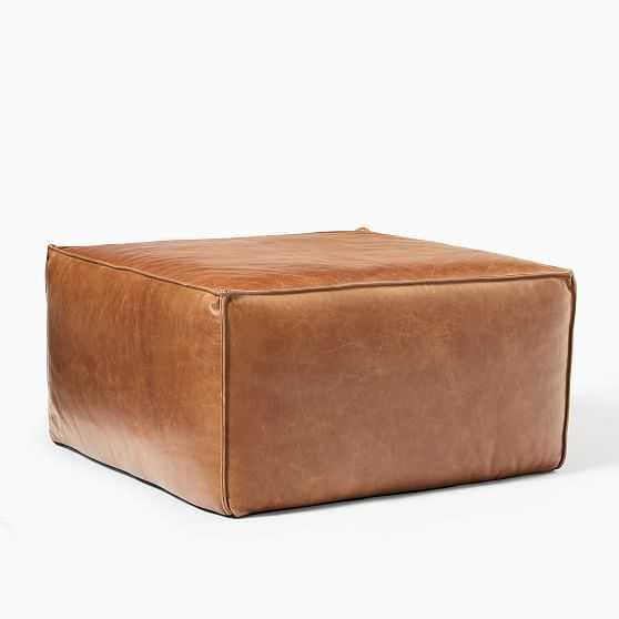 "Leather Pouf, 26"" x 26"" x 14"", Saddle - West Elm"