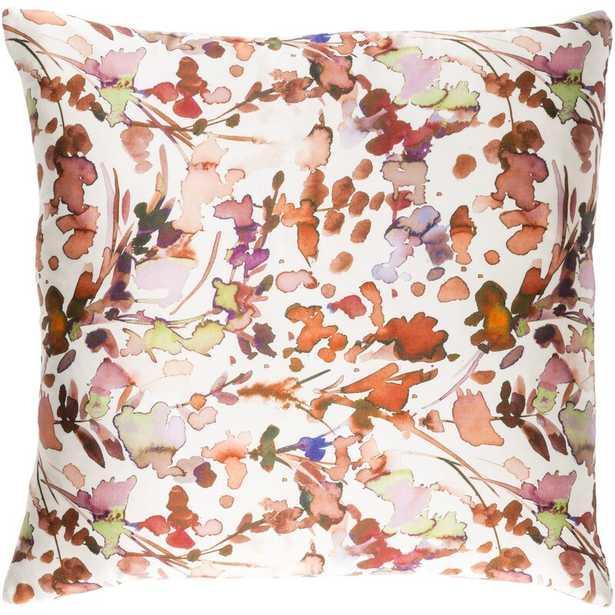 "Naida Silk Floral Throw Pillow Size: 22"" x 22"" , Color: Burnt Orange/Peach - Perigold"