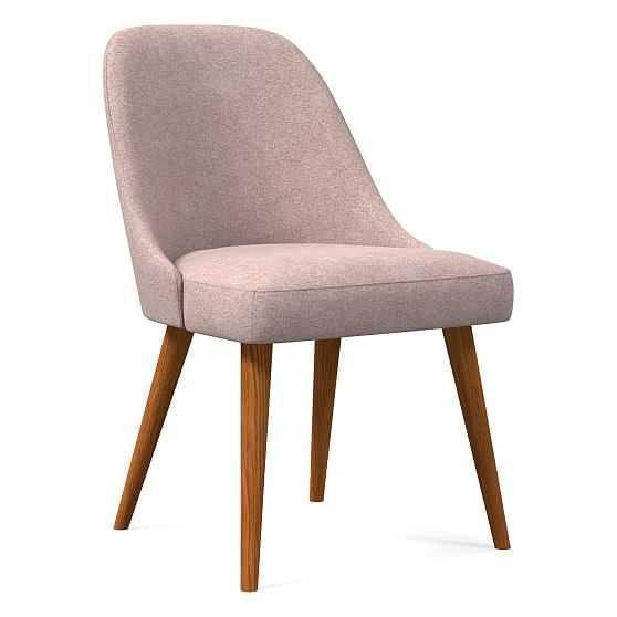 Mid-Century Upholstered Dining Chair, Distressed Velvet, Light Pink, Pecan - West Elm