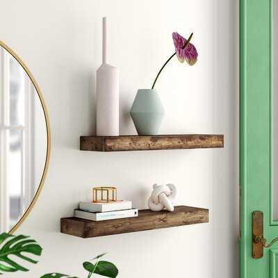 2 Piece Rubberwood Solid Wood Floating Shelf - Wayfair