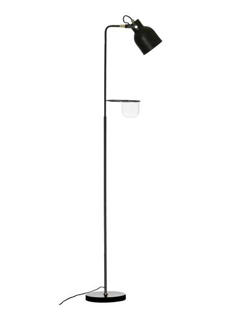 """62""""H Metal Floor Lamp with Glass Planter/Vase in Attached Holder - Moss & Wilder"""