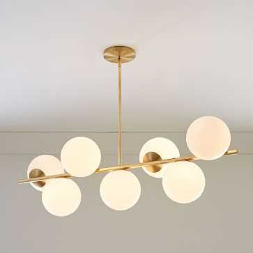 Sphere + Stem 7-Light Chandelier, Brass/Milk - West Elm