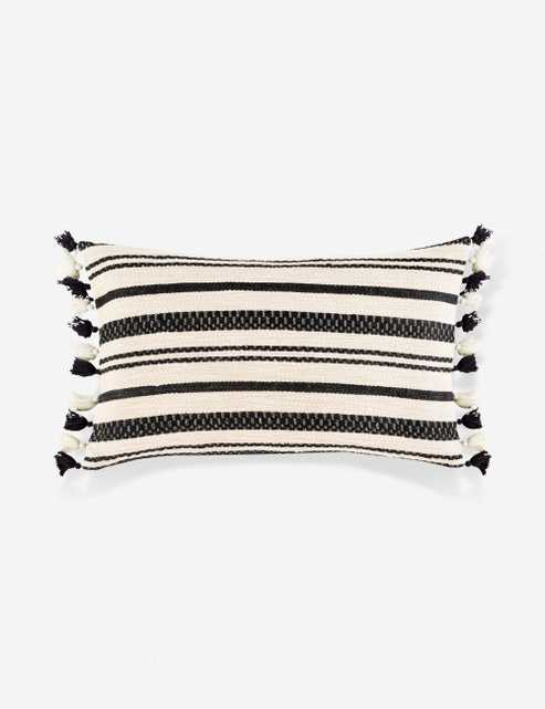 "Margaux Lumbar Pillow, Cream and Black 20"" x 12"" - Lulu and Georgia"