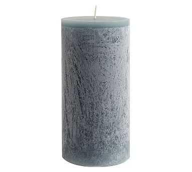 """Scented Timber Pillar Candles, Flint Blue, Blackberry Yuzu, 4"""" x 8"""" - Pottery Barn"""