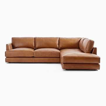 Haven 2-Seat Right Arm Sofa, Left Arm Terminal Chaise, Poly, Saddle Leather, Nut - West Elm