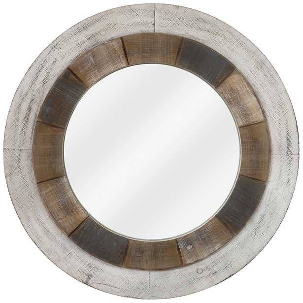 """Orbiting Natural and White-Washed 31 1/2"""" Round Wall Mirror - Style # 79V65 - Lamps Plus"""