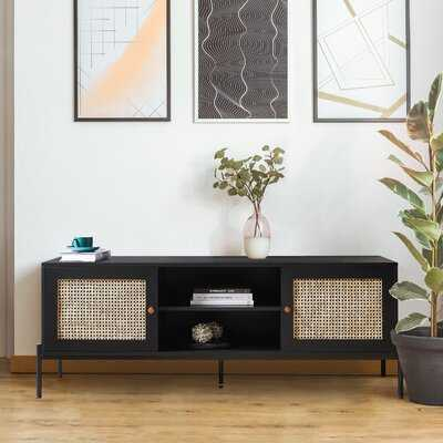 Lewis 62 Inches Tv Stand With 2 Baskets Storage,Black (in stock Nov,15,2021) - Wayfair