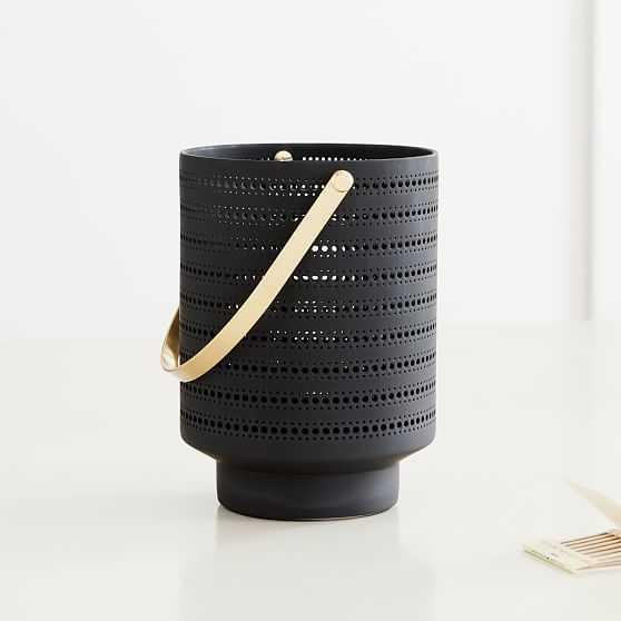 Modern Porcelain Lantern, Charcoal Gray, Small - West Elm