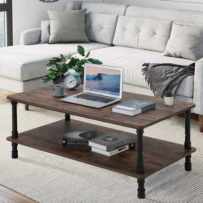 Rectangle Modern Industrial Coffee Table In Walnut Brown With Storage, 1 Shelf, For The Living Room, Family Room - Wayfair