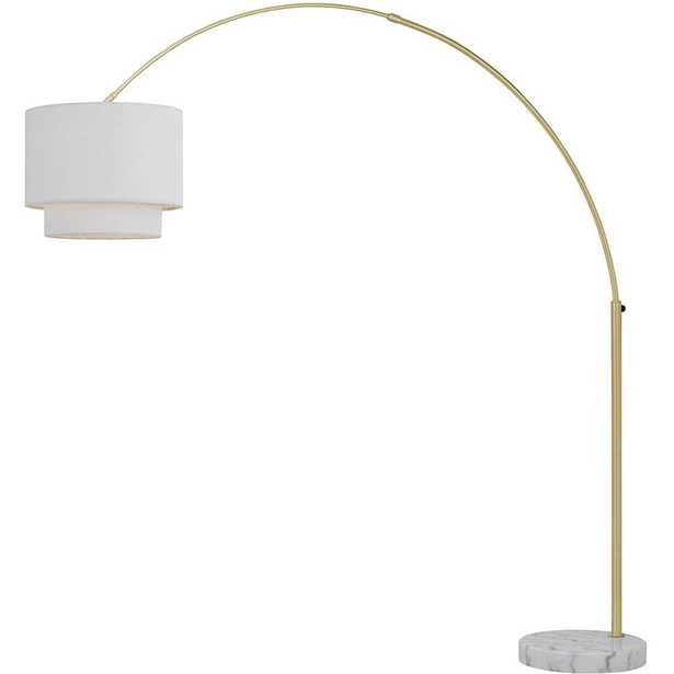 AF Lighting Arched 74 in. Gold Floor Lamp with Fabric Shade - Home Depot