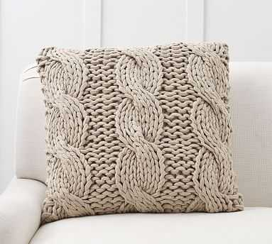 """Colossal Handknit Pillow Cover, 24"""", Putty - Pottery Barn"""