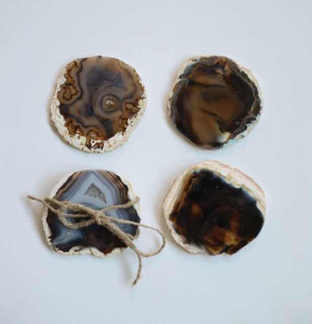 4 Piece Brown Agate Coaster Set - Nomad Home