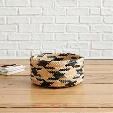 Chevron Woven Baskets, Small, Natural + Black - West Elm