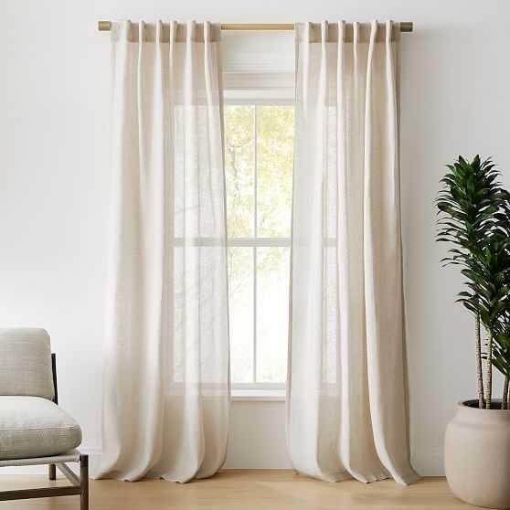 "Sheer European Flax Linen Curtain, Natural Flax, 48""x96"" - West Elm"