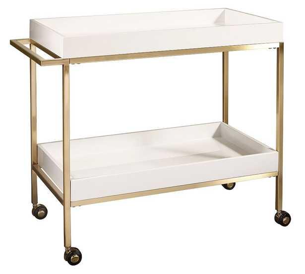 """Goldonna 36"""" Bar Cart, White/Gold - Pottery Barn"""