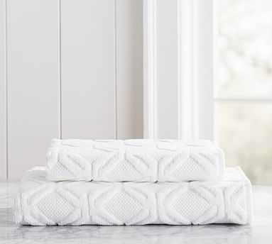 Blakely Organic Sculpted Hydrocotton Hand Towel, White - Pottery Barn