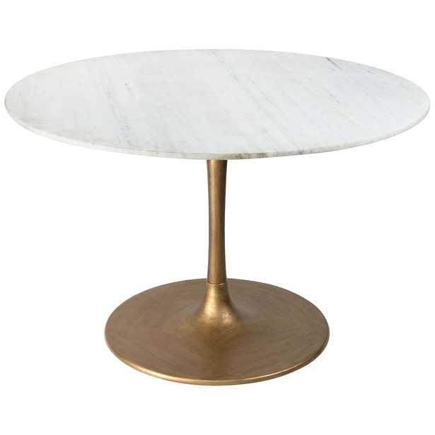 """Zuo Ithaca 47"""" Wide White and Gold Round Dining Table - Style # 95Y17 - Lamps Plus"""