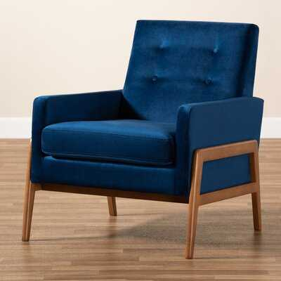 Dehart Mid-Century Modern Navy Blue Velvet Fabric Upholstered And Walnut Brown Finished Wood Lounge Chair - Wayfair
