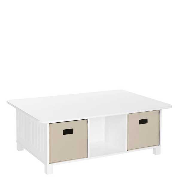 RiverRidge Home White 6-Cubby Storage Kids Activity Table with Taupe Bins (2-Piece) - Home Depot