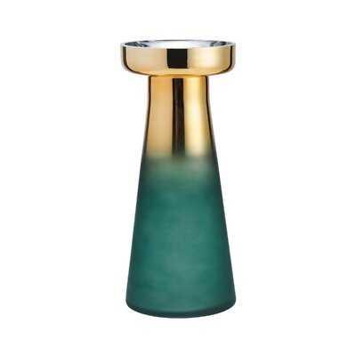 Teal/Gold Glass Table Vase - Wayfair
