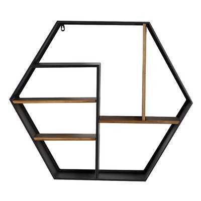 "Black Metal And Wood Octagon Wall Shelf, 29.5"" X 25.75"" - Wayfair"