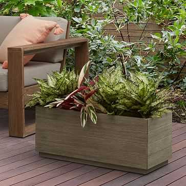 Portside Outdoor Planter Trough, Weathered Gray, 12x30inches - West Elm