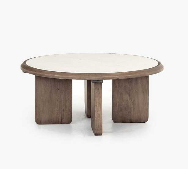 """Dante Reclaimed Wood & Marble Round 39"""" Coffee Table, Ashen Brown - Pottery Barn"""