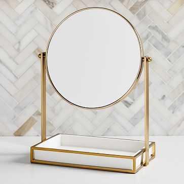 Modern Resin Stone Vanity Mirror, White & Antique Brass - West Elm