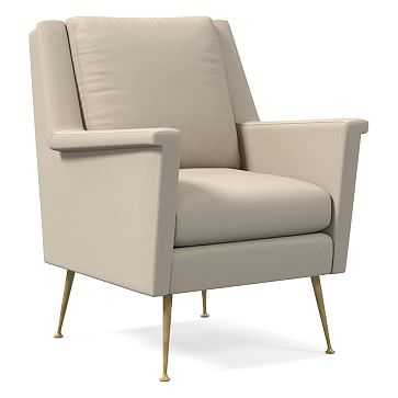 Carlo Mid-Century Chair, Poly, Performance Washed Canvas, Natural, Brass - West Elm