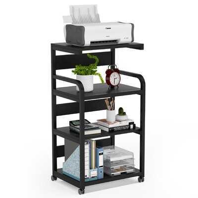 Mobile Printer Stand With Storage Shelves, 4-Shelf Shelving Storage Unit On Wheel Casters,Large Modern Printer Cart Desk Machine Stand Storage Rack On Wheels - Wayfair