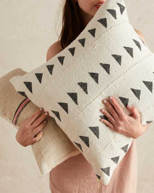 triangle mud cloth pillow in white - PillowPia