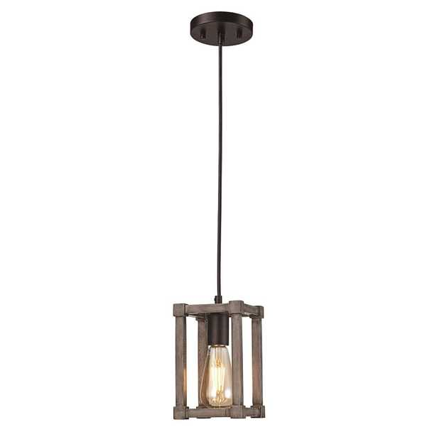 Bel Air Lighting 1 Light Black Mini Pendant with Faux Wood Shade - Home Depot