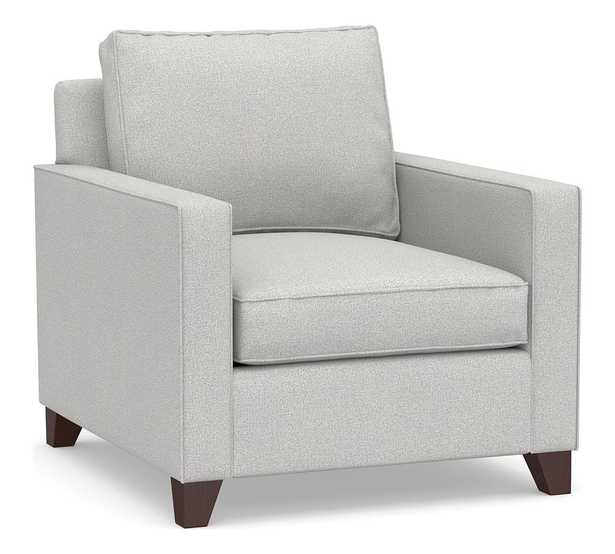 Cameron Square Arm Upholstered Deep Seat Armchair, Polyester Wrapped Cushions, Park Weave Ash - Pottery Barn