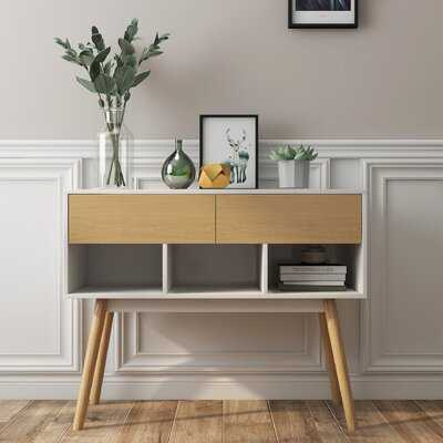 Console Table-Solid Rubber Wood Drawer Front And Legs - Wayfair