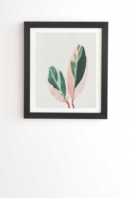 "Pink Leaves I by Cassia Beck - Framed Wall Art Basic Black 20"" x 20"" - Wander Print Co."