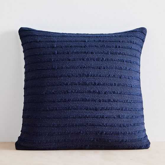 """Soft Corded Pillow Cover with Down Alternative Insert, Midnight, 20""""x20"""" - West Elm"""