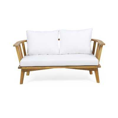 Outdoor Wooden Loveseat With Cushions - Wayfair