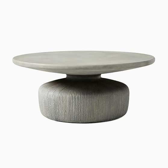 """Tambor Round Coffee Table, 40"""", Concrete Gray - West Elm"""