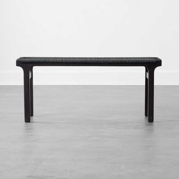 Small Black Leather Woven Bench - CB2