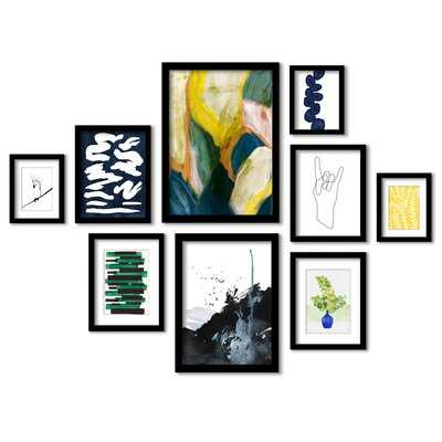 Modern Abstract Shapes - 9 Piece Picture Frame Painting Print Set on Paper - Wayfair