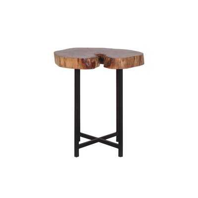 Pradnya Live Edge Acacia & Industrial Iron Accent Side Table - Wayfair