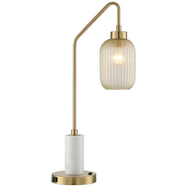 Vaile Modern Marble and Glass USB Desk Lamp by Possini Euro Design - Style # 93J36 - Lamps Plus