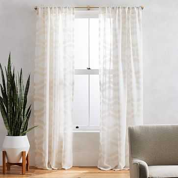 """Sheer Clipped Jacquard Geo Curtain, Alabaster, 48""""x96"""" - West Elm"""