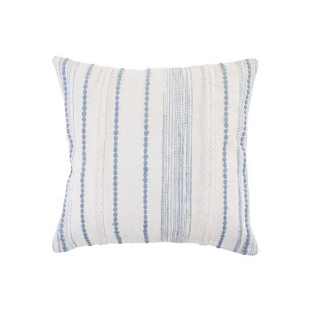 LR Home Textured White / Blue Striped Cottage Woven 20 in. x 20 in. Throw Pillow - Home Depot
