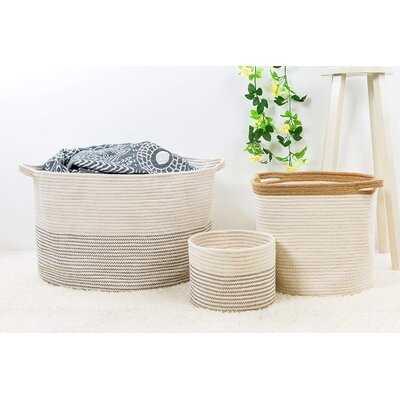 "Xxxlarge Cotton Rope Basket 21.7"" X 21.7"" X 13.8"" Woven Baby Laundry Basket For Blankets Toys Storage Basket With Handle Comforter Cushions Storage Bins Thread Laundry Hamper-Black Stitch - Wayfair"