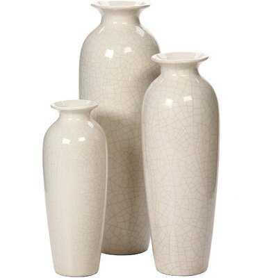 Set Of 3 Crackle Ivory Ceramic Vases - Wayfair