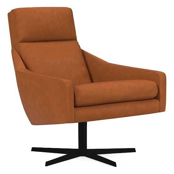 Austin Swivel Chair, Poly, Vegan Leather, Saddle, Antique Bronze - West Elm