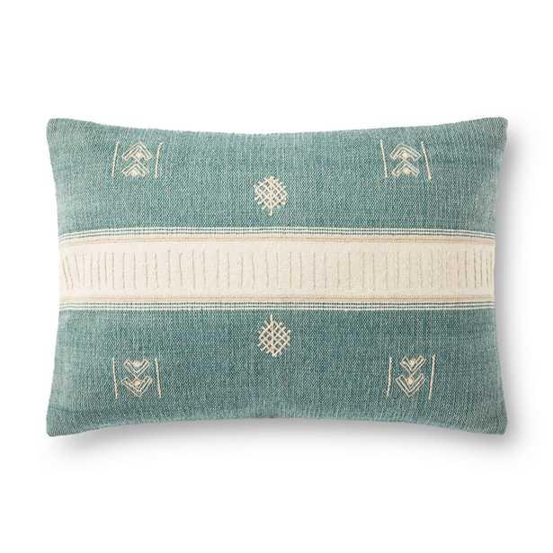 """Lumbar Throw Pillow, 26"""" x 16"""", Green & Natural, Poly - Loma Threads"""