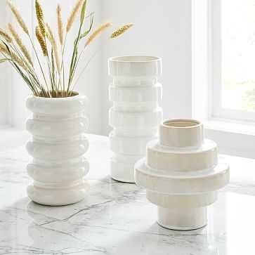 Stepped Form Ceramic Round Steps, Transculent White, Set of 3 - West Elm